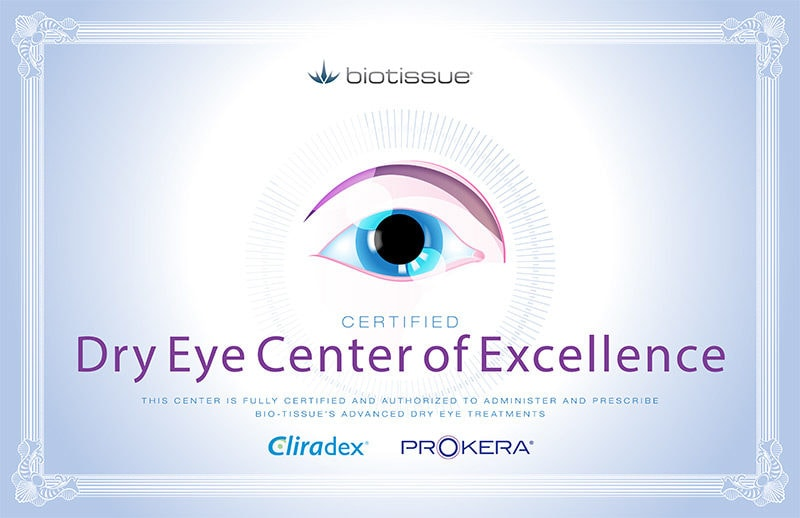 Dry Eye Center of Excellence Certificate