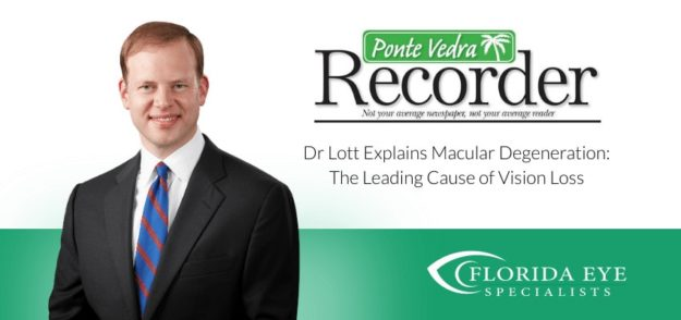 "Dr. Lott smiles. Text on image reads ""Explains Macular Degenerate Care During the Coronavirus"""