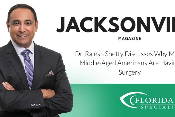 """Dr. Shetty smiles. Text on image reads """"Discusses Why More Middle-aged Americans are Having Surgery"""""""