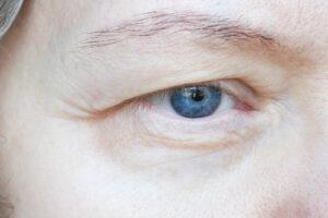 A closeup of a person's eye