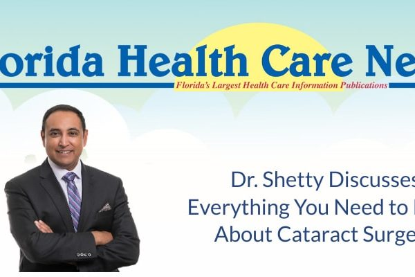 """Dr. Shetty poses. Text on the image reads """"Discusses Everything You Need to Know About Cataract Surgery"""""""