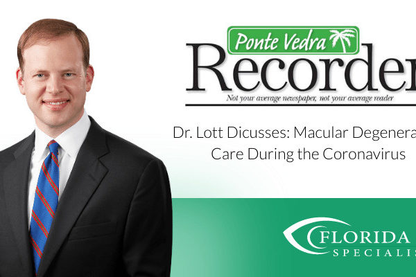 """Dr. Lott smiles. Text on image reads """"Discusses Macular Degenerate Care During the Coronavirus"""""""