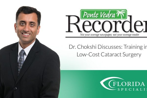 """Dr. Chokshi smiles. Text on image reads """"Discusses Training in Low-cost Cataract Surgery"""""""