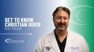 """Dr. Christian Guier smiles. Text reads: """"Get to Know Christian Guier O.D., F.A.A.O."""