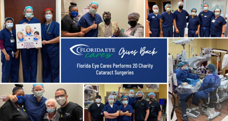 A collage of various images of surgeons posing and performing surgery at Florida Eye Cares. There is a logo in the center of the collage