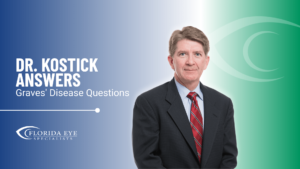 """Dr. Kostick smiles. Text reads: """"Dr. Kostick Answers Graves' Disease Questions"""""""
