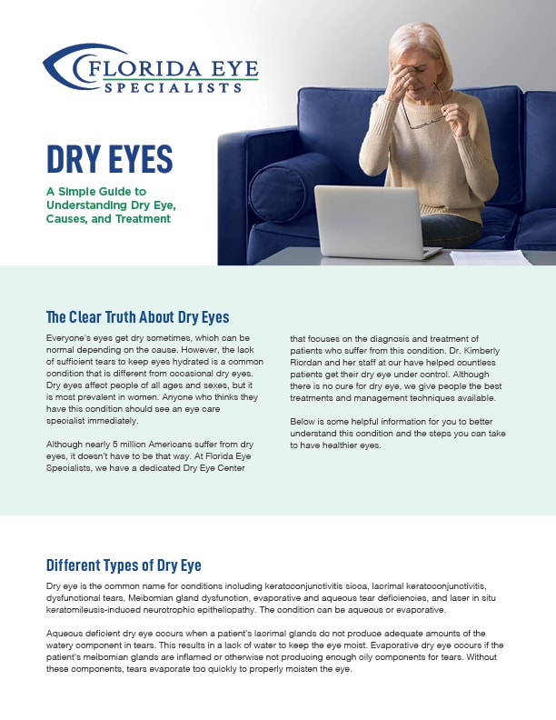 Florida Eye Specialists Dry Eye Guidebook Cover featuring a senior woman pinching her eyes in discomfort