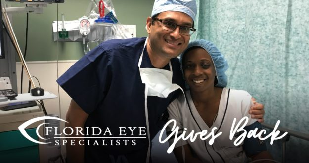 Dr. Patel poses with a patient in a doctor's office