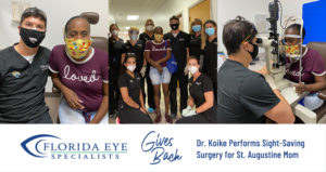 Three photos of Sparrow, Dr. Koike and other medical team members during an eye exam. A graphic is featured below the images with the logo and caption
