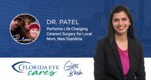 dr. patel and family in circle with florida eye cares logo