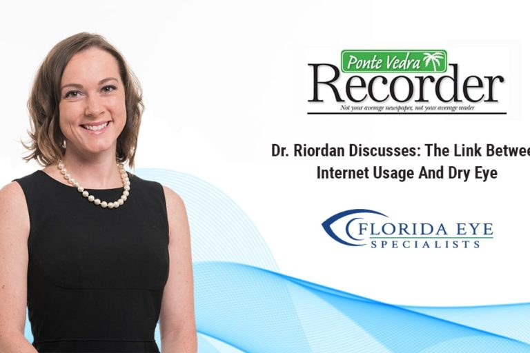 """Dr. Kimberly Riordan with blue wave background. Ponte Vedra Recorder logo with words """"Dr. Riordan Discusses: The Link Between Internet Usage and Dry Eye"""""""