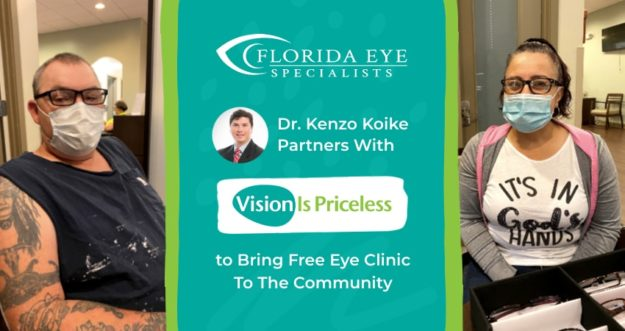 Two patients with masks pose in between a graphic featuring Florida Eye Specialists' Dr. Kenzo Koike, who partners with Vision is Priceless