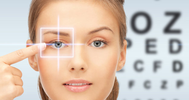 Young Woman Pointing at Her Eye | Florida Eye Specialists