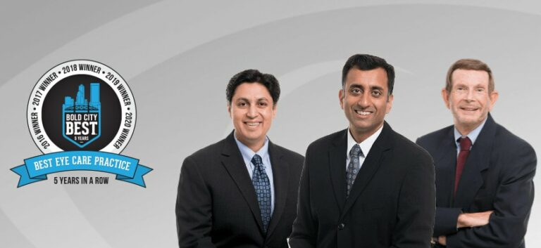 """Three doctors pose together with Bold City Best graphic to left reading """"Best Eye Care Practice, 5 Years in a Row"""""""