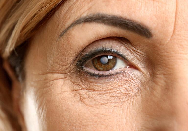 close up senior woman brown eye